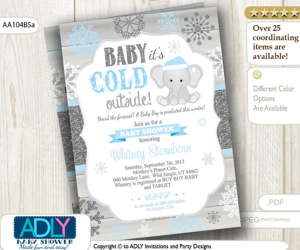 Baby Blue, Glitter, Blue Elephant Snowflake Invitation for Winter Baby Shower