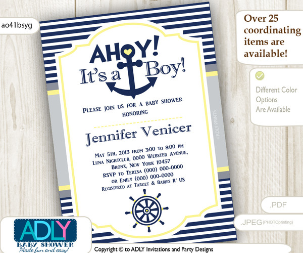 Nautical Invitation for Baby Shower in Yellow, Navy and Grey colors