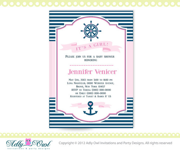 Its A Girl Nautical Baby Shower For Printable DIY Party Birthday Invitation Pink