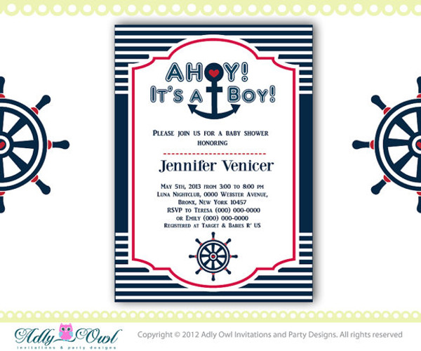 Personalized Nautical Baby Shower for Baby Boy Printable DIY party invitation Red, Navy Blue