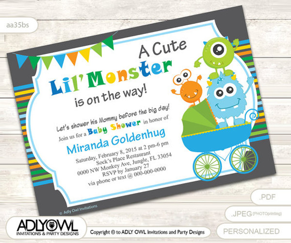 Little Monster Baby Shower Invitation For Boy Colorful Cute Boy