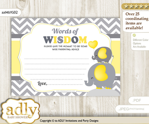 Yellow Grey Peanut Elephant Words of Wisdom or an Advice Printable Card for Baby Shower, Chevron