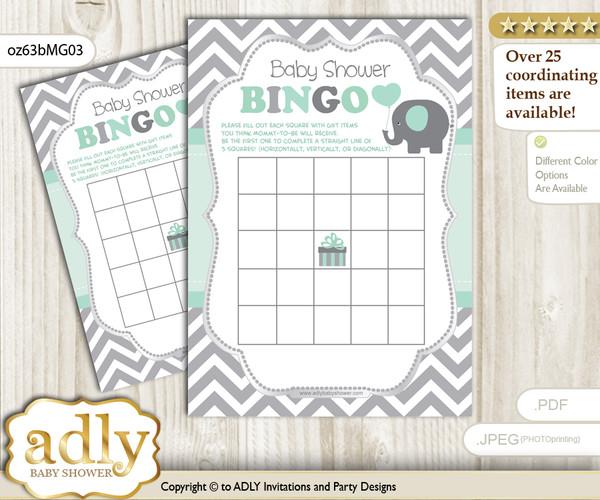 Printable Mint Grey Elephant Bingo Game Printable Card for Baby Boy Shower DIY grey, Mint Grey, Chevron