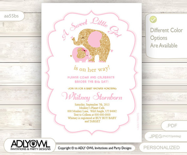 White Pink Gold Elephant Baby Shower Invitation Card A Sweet Little