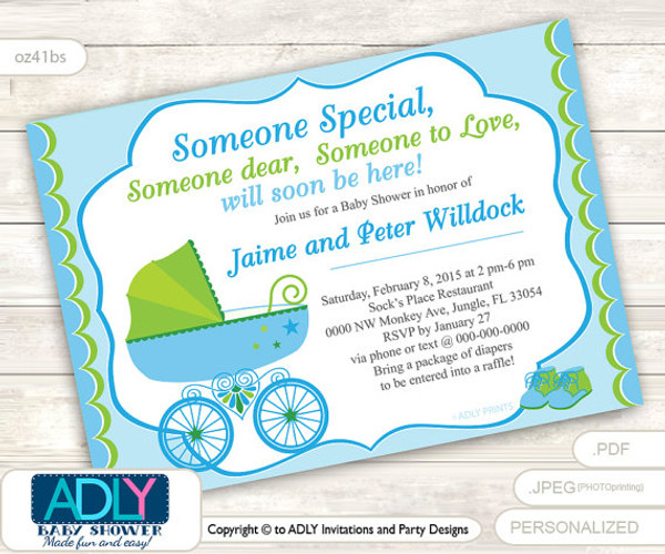 boy carriage stroller invitation for baby shower with lime green and