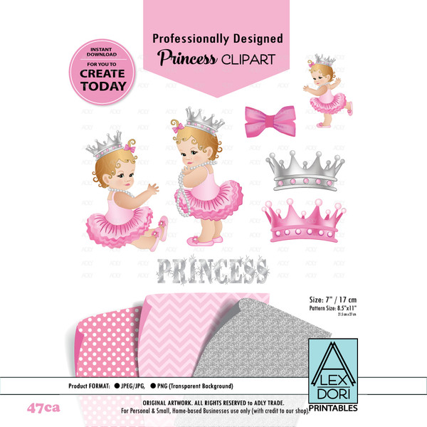 Princess baby shower digital clipart, Pink and Gray clipart, Royal baby shower, crowns, tiara clipart
