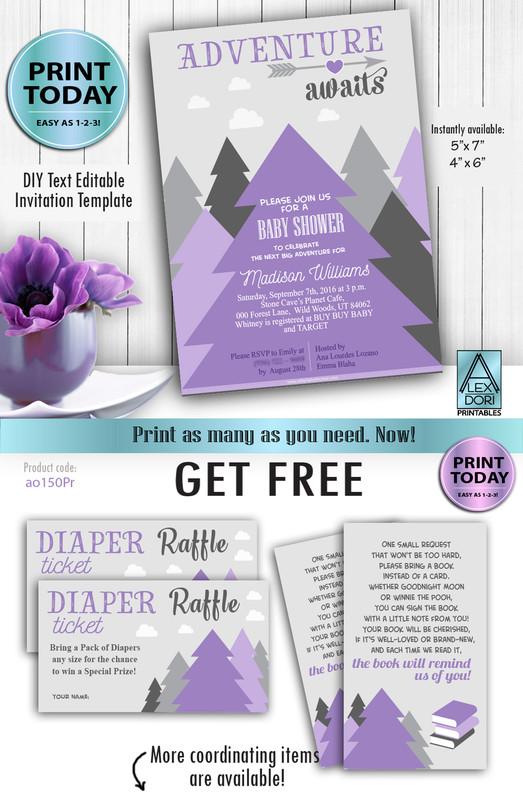 Pine tree Adventure Awaits tree art baby shower adventure print book request, diaper raffle, invitation, DIY text editable, PDF