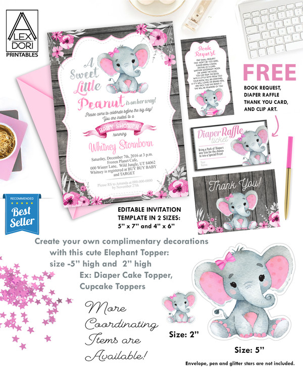 Girl Elephant pink and gray Baby Shower Invitation, Wooden Background -Printable Invitation - Peanut Invite-Girl Baby Shower-FREE Diaper Raffle