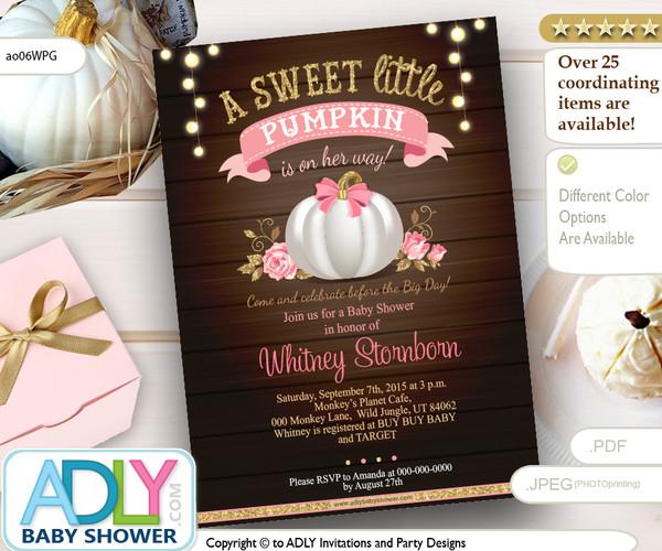 Fall pumpkin Invitation, Gray pink brown pumpkin invitation, halloween invitation Mommy to Be -Pumpkin Invite-Baby Shower