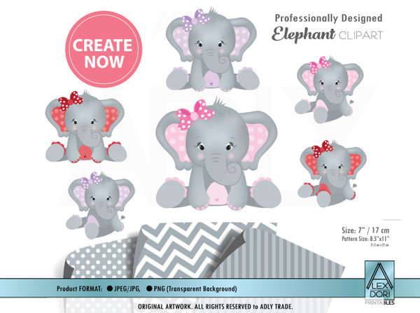 Baby girl Elephant clip art,  purple,pink,red colors with bow - plus chevron, polka dot and stripes patterns.Commercial Use elephant art
