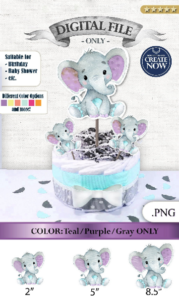 Peanut Elephant Centrepiece for Baby Boy Shower in Lavender & Teal PNG - 3 Sizes