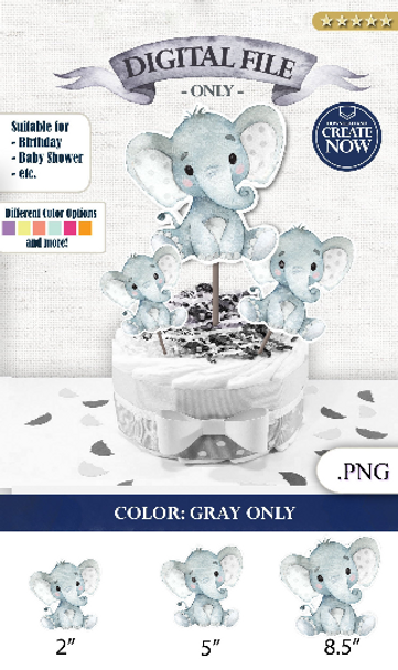 Peanut Elephant Centrepiece for Baby Boy Shower in Gray PNG - 3 Sizes