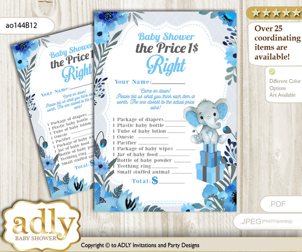 Printable Elephant Boy Price is Right Game Card for Baby Boy Shower, Blue Gray, Floral