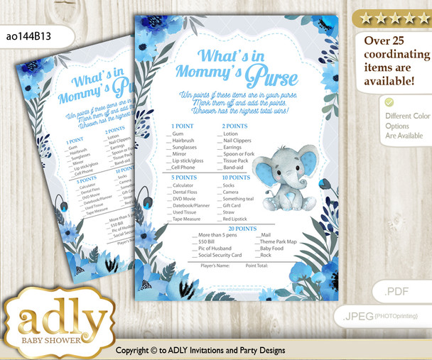 Elephant Boy What is in Mommy's Purse, Baby Shower Purse Game Printable Card , Blue Gray,  Floral