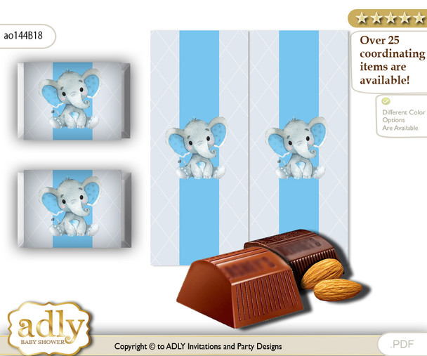 Elephant Boy Chocolate Nuggets Candy Wrapper Label for Baby Elephant Shower  Blue Gray , Floral