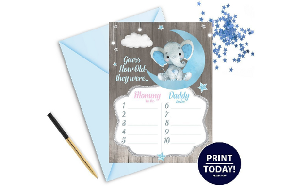 """Peanut Elephant """"Guess Their Age""""Game In Blue & Gray for BABYSHOWER"""