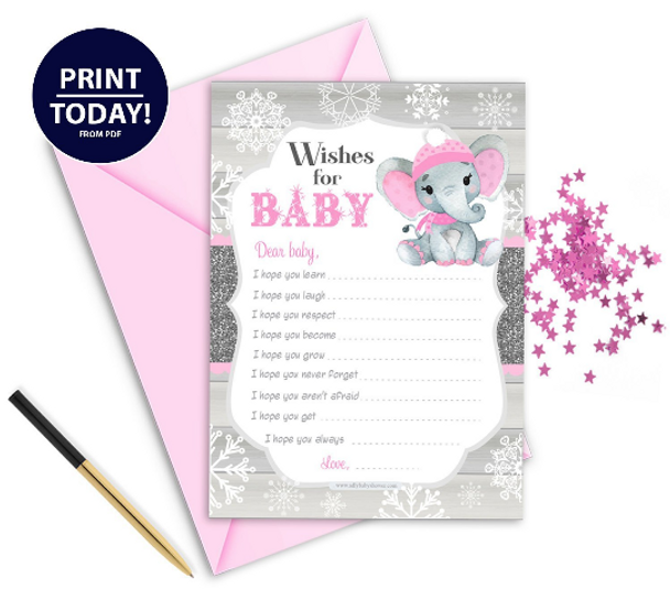 Peanut Elephant Wish Cards In Pink & Gray for BABYSHOWER
