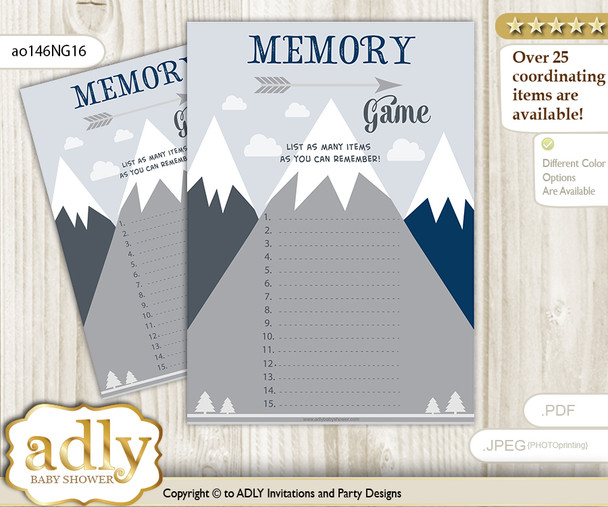 Mountain Boy Memory Game Card for Baby Shower, Printable Guess Card, Adventure , Blue Gray