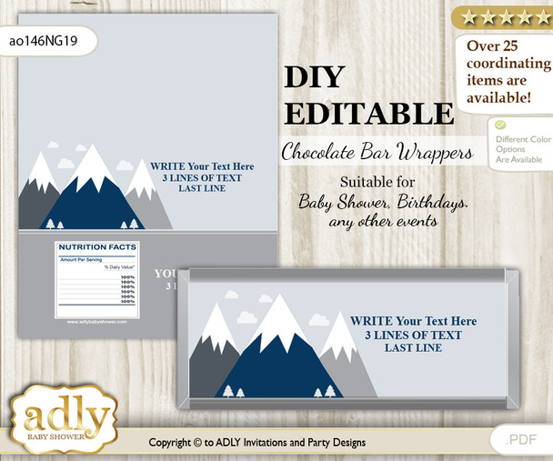 DIY Personalizable Mountain Boy Chocolate Bar Candy Wrapper Label for Mountain  baby shower, birthday Adventure  , editable wrappers