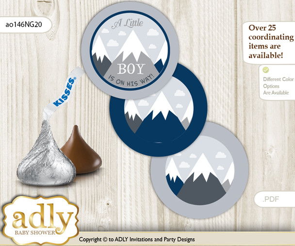 Printable  Mountain Boy Candy Kisses for Baby Mountain Shower DIY Adventure  , Blue Gray