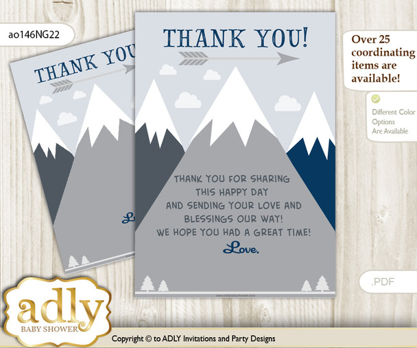 Mountain  Boy Thank you Cards for a Baby Mountain Shower or Birthday DIY Adventure , Blue Gray