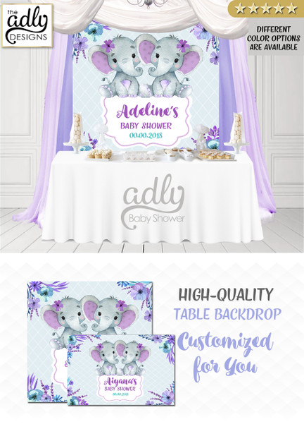 Purple Twin Elephants Backdrop, girls baby shower candy Table Digital Backdrop, Birthday Party, Teal Purple Elephant, Flower, Floral 4x4 or 4wx6h