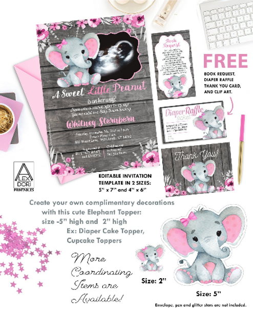 Elephant Pink GrayBaby Shower Ultrasound Invitation, Wooden Background -Printable Photo Invitation - Peanut Invite-FREE Diaper Raffle, book
