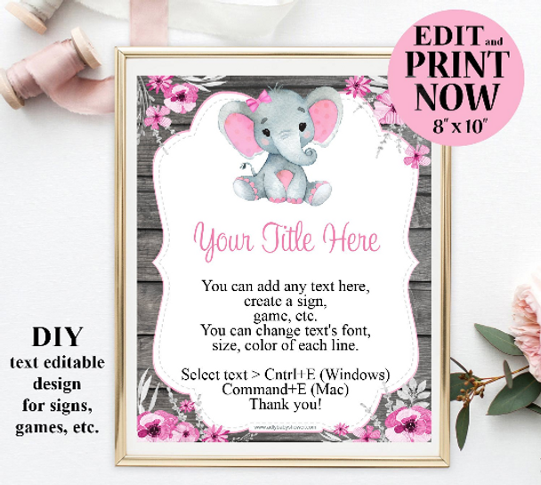 Girl Peanut Elephant Sign Template for games, table sign, wall art for baby shower,birthday, Pink gray commercial use,games printables