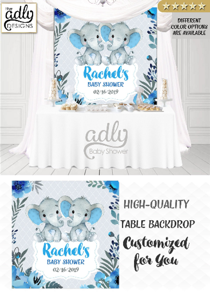 Twin elephant backdrop boy baby shower, blue and gray backdrop, table decor,twin boys backdrop,printable backdrop,elephant twin party