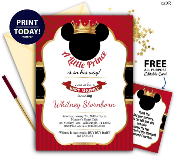 Royal Mickey Invitation In Red Black Gold Editable Free Thank