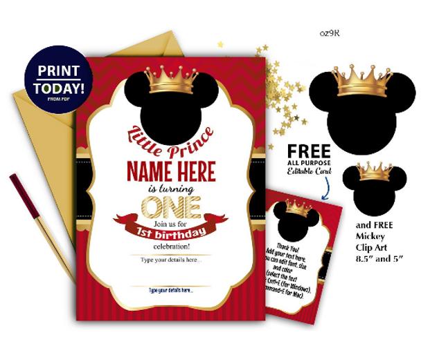 Prince Mickey Birthday Invitation Prince Mickey 1st birthday Invitation,Royal first birthday chevron, crown,digital template,free thank you