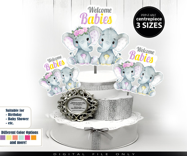 Twin Elephant boy and girl Centerpiece in yellow, digital elephant clip art for twin baby shower decoration, birthday, baby sprinkle,