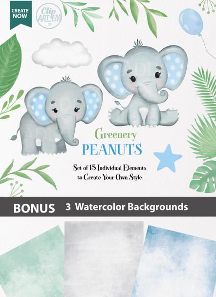 Blue Boy Baby Elephants collection Clipart, transparent background, t shirt, nursery clipart