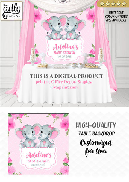 Twin Elephants, girl baby shower candy Table Backdrop, Digital Backdrop, Birthday, Pink twin Elephants, Floral