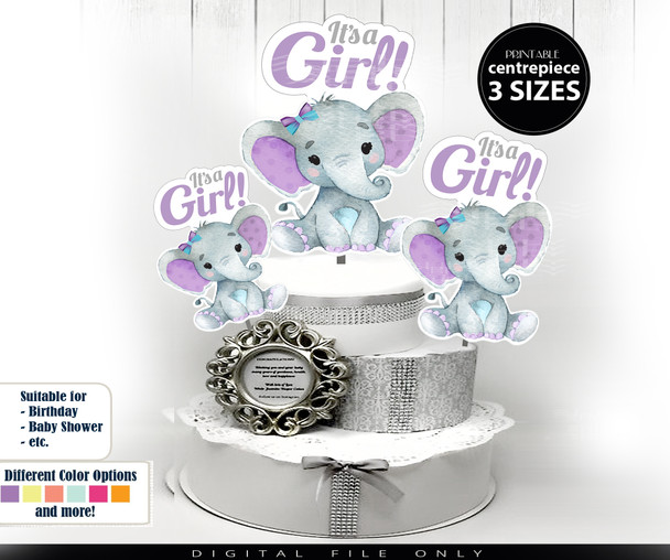 Girl Elephant Clip Art Centrepiece in Purple Teal for Baby Boy Shower, table decoration,peanut image,girl baby shower, turquoise lavender lilac
