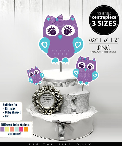 Cute Baby Owl Centerpiece, Cake Topper, Clip Art Decoration in Lavender & Teal - 3 SIZES, PNG FILE