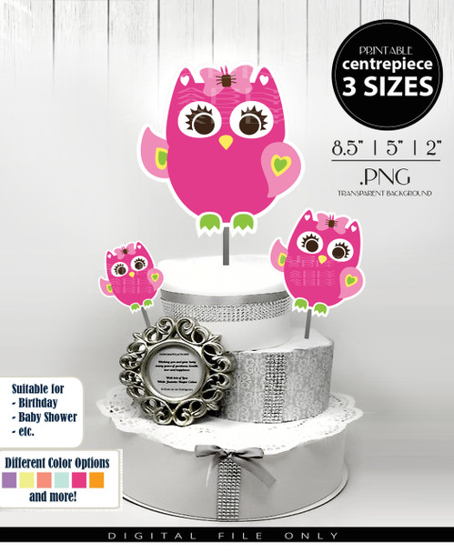 Cute Baby Owl Centerpiece, Cake Topper, Clip Art Decoration in Hot Pink & Lime Green with Hair Bow - 3 SIZES, PNG FILE