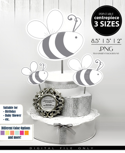 Bumble Bee Centerpiece, Cake Topper, Clip Art Decoration in Gray & White - 3 SIZES, PNG FILES