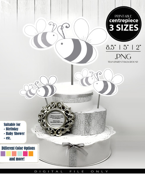 Bumble Bee Mommy and Baby Centerpiece, Cake Topper, Clip Art Decoration in Gray & White - 3 SIZES, PNG FILES