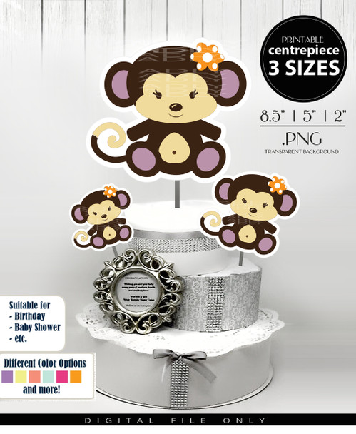 Baby Monkey Centerpiece, Cake Topper, Clip Art Decoration in Brown & Purple with Flower in Hair - 3 SIZES, PNG FILES