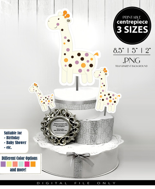 Giraffe Gender Neutral Centerpiece, Cake Topper, Clip Art Decoration in White with Multi-Colored Spots - 3 SIZES, PNG FILES