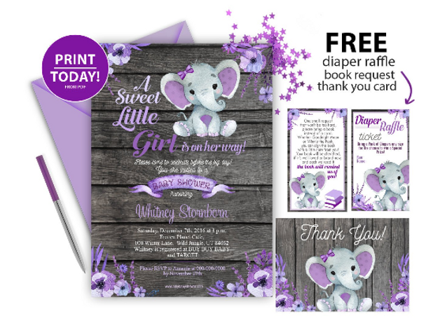 Elephant invitaion kit, purple gray baby shower invitation template. Rustic wood lavender floral, flowers baby gilr elephant, free diaper