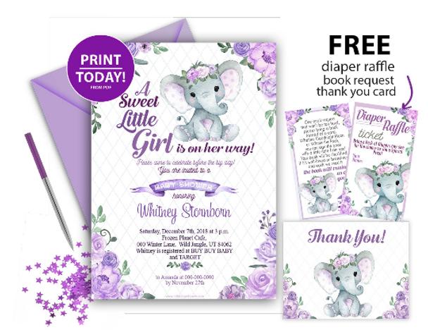 Purple Floral Elephant Invitation for Baby Shower, Editable invitation template, printable invitation card, lavender, roses, floral crown