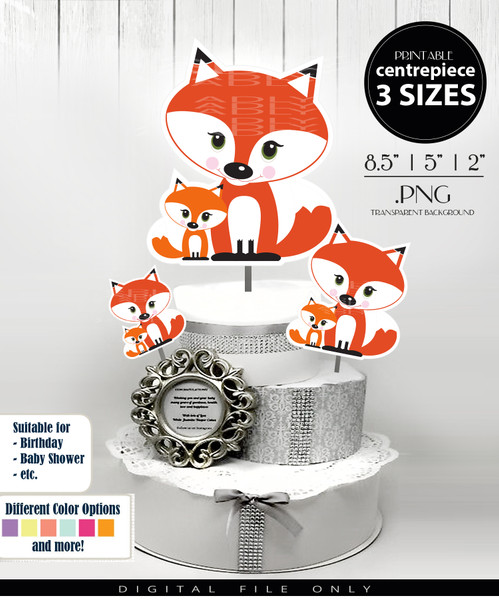 Fox Family Mom & Baby Centerpiece, Cake Topper, Clip Art Decoration in Orange and White - 3 SIZES, PNG FILE