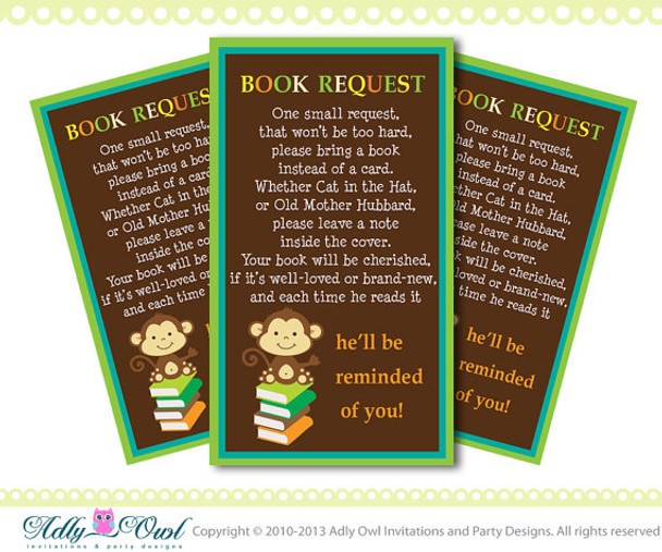 Brown Monkey Book Request card for Baby Shower