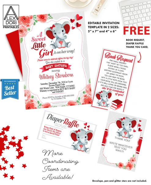 Elephant Red Gray Baby Shower Ultrasound Invitation -Printable Photo Invitation - Peanut Invite-FREE Diaper Raffle, book request
