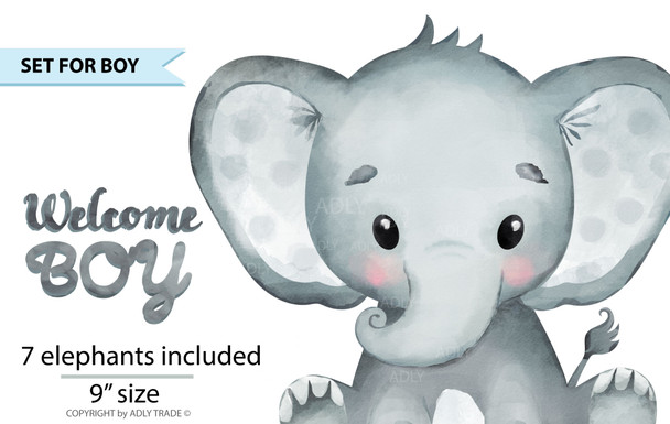 Cute Elephant Boy Watercolor clip art, baby blue elephant, mint green elephant, yellow elephant, turquoise elephant, polka dot, commercial use