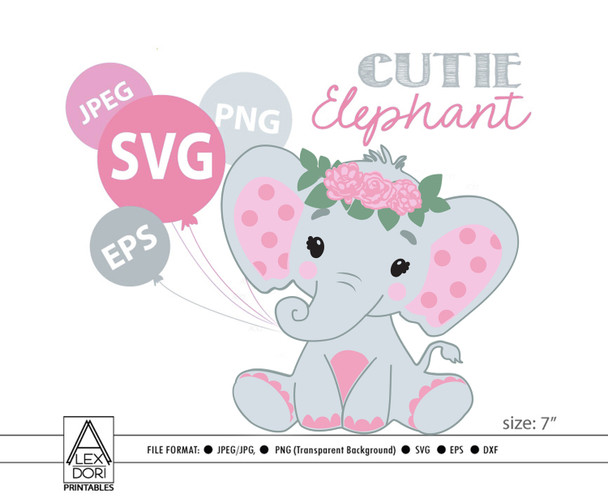 SVG Baby girl elephant for baby shower, Girl Elephant, diaper cake, Pink Gray peanut flowers, roses