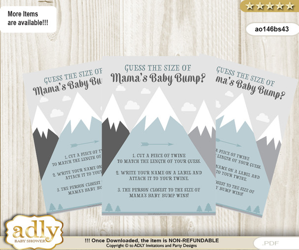 Adventure awaits Guess Mama's bump size Game,Sign,mountain theme Mamas baby bump game,printable template,instant download,Baby Shower games,Baby Shower Signs