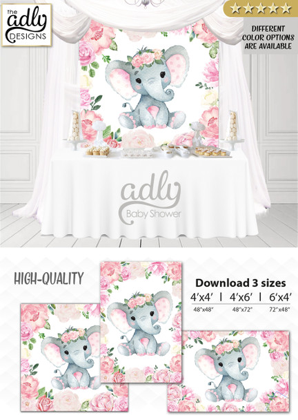 Customizable Girl Elephant Backdrop, for Girl Baby Shower candy table, Birthday Party, Blush Pink Gray Peanut, Floral, Flowers, Digital Backdrop 4x4, 4x6.